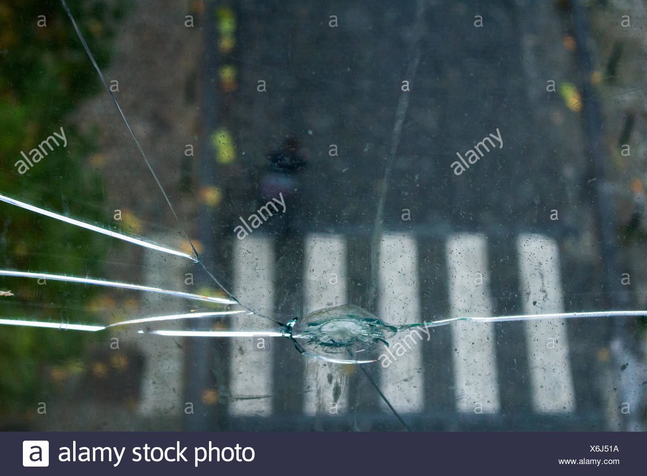 Close-Up Of Broken Glass Window - Stock Image