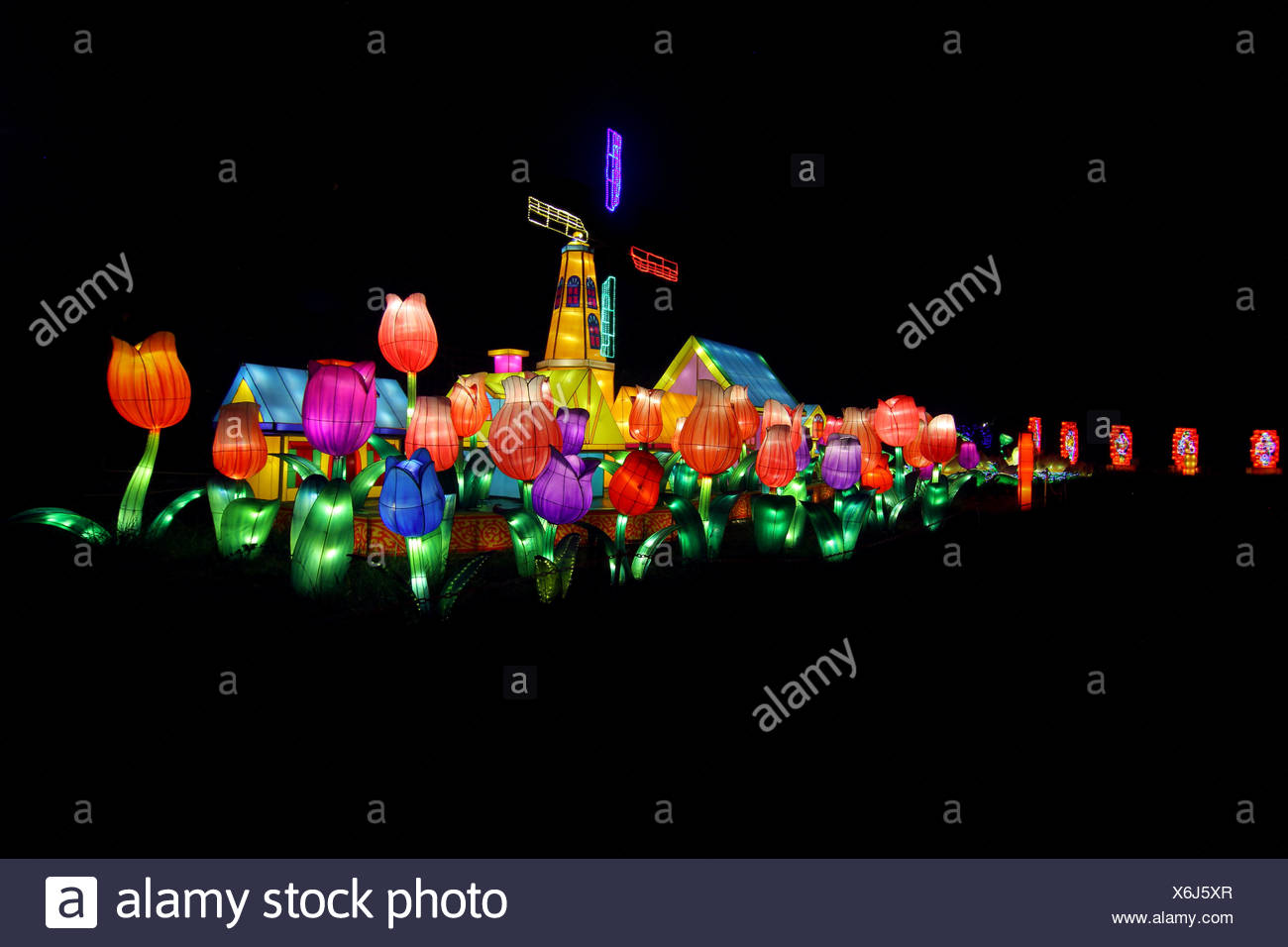 Dutch Windmill And Tulip Lanterns At Chinese Lantern Festival Stock