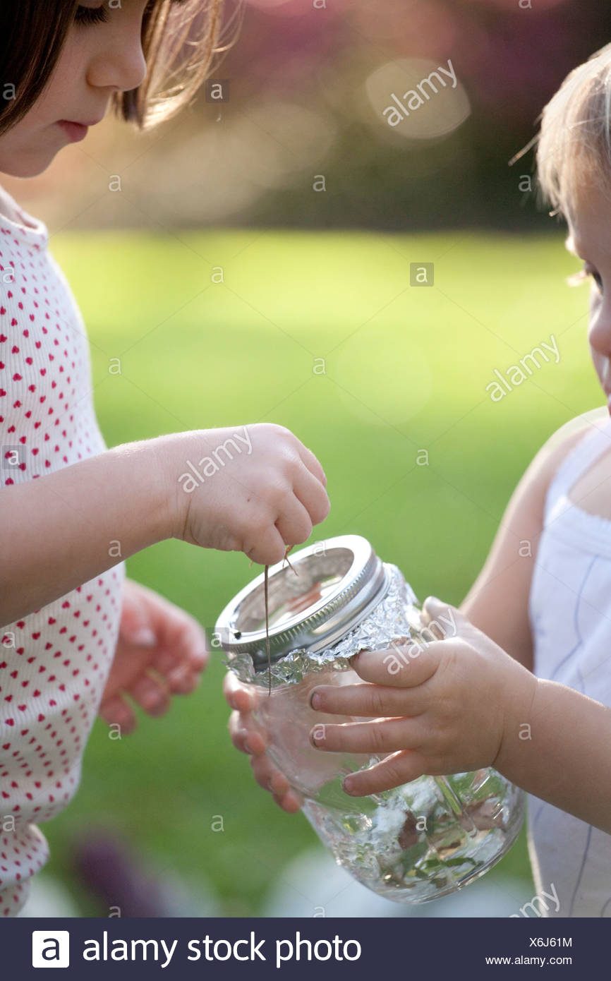 Girl and toddler sister putting green anole lizard in jar - Stock Image