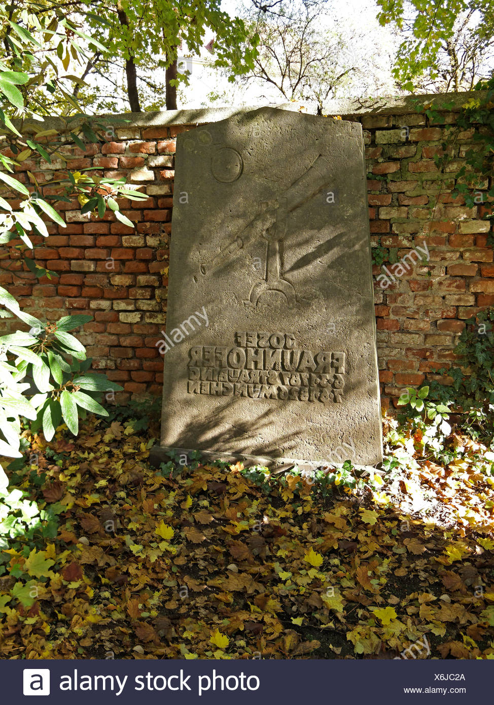 Grave of Josef Fraunhofer, 1787-1826, optician, Southern Cemetery Munich, Upper Bavaria, Bavaria, Germany, Europe - Stock Image