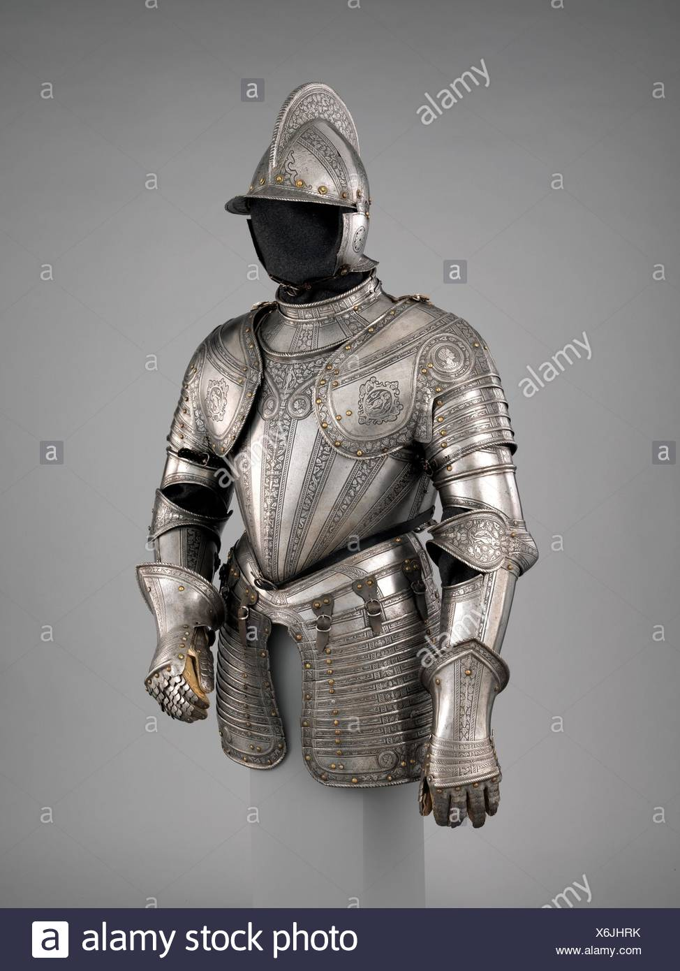 Infantry Armor. Armorer: Upper plate of the gorget, skirt lames, and cheek pieces made by Daniel Tachaux (French, 1857-1928, active in France and - Stock Image