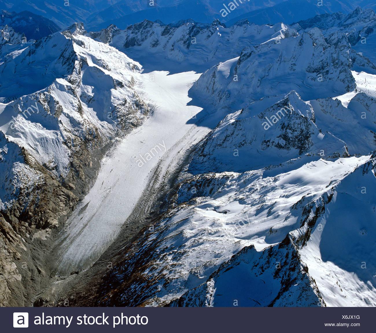 Aerial shot, Forno Glacier, Bergell, Grisons, Switzerland, Europe Stock Photo