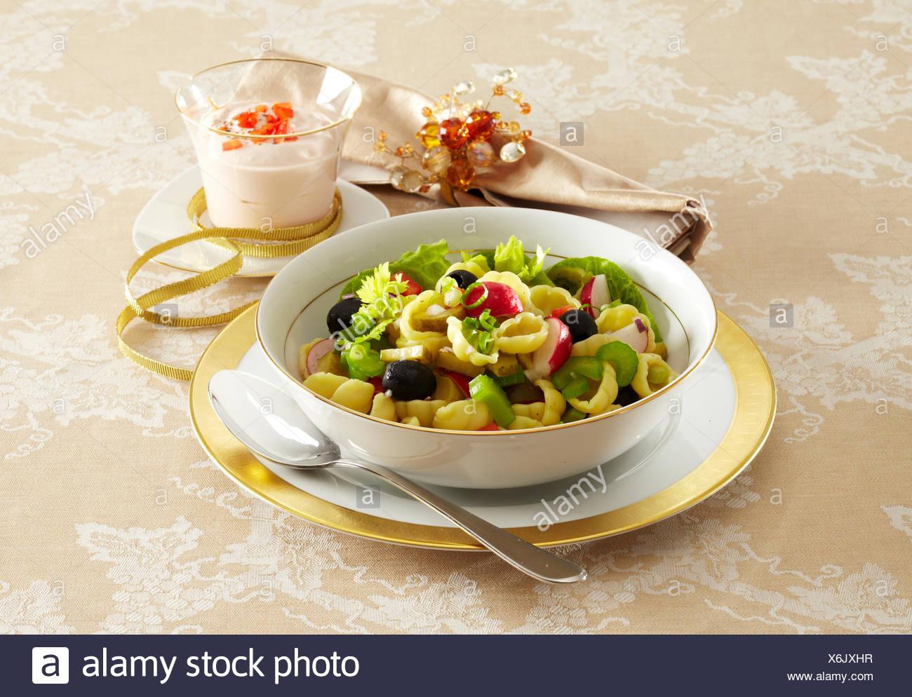 christmas pasta salad stock image