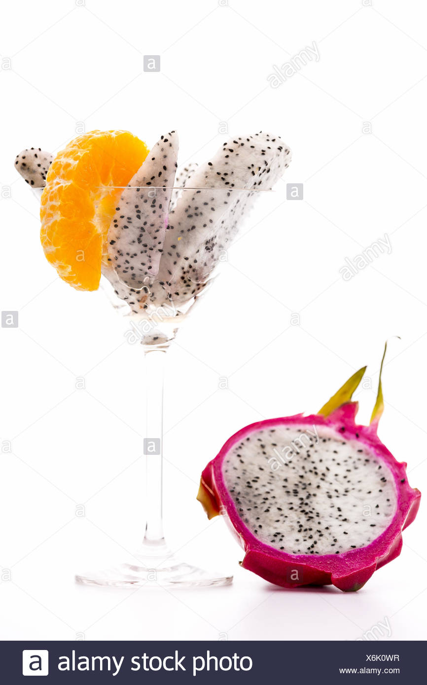 Wedges of Pitaya in a cocktailglass - Stock Image