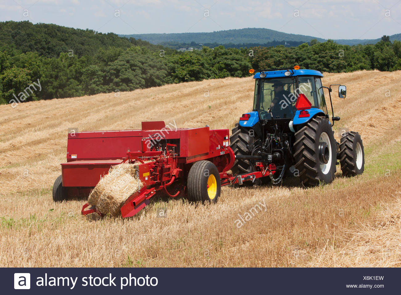New Holland TD5050 with BC5070 square baler baling wheat straw for bedding;  Lititz, Pennsylvania