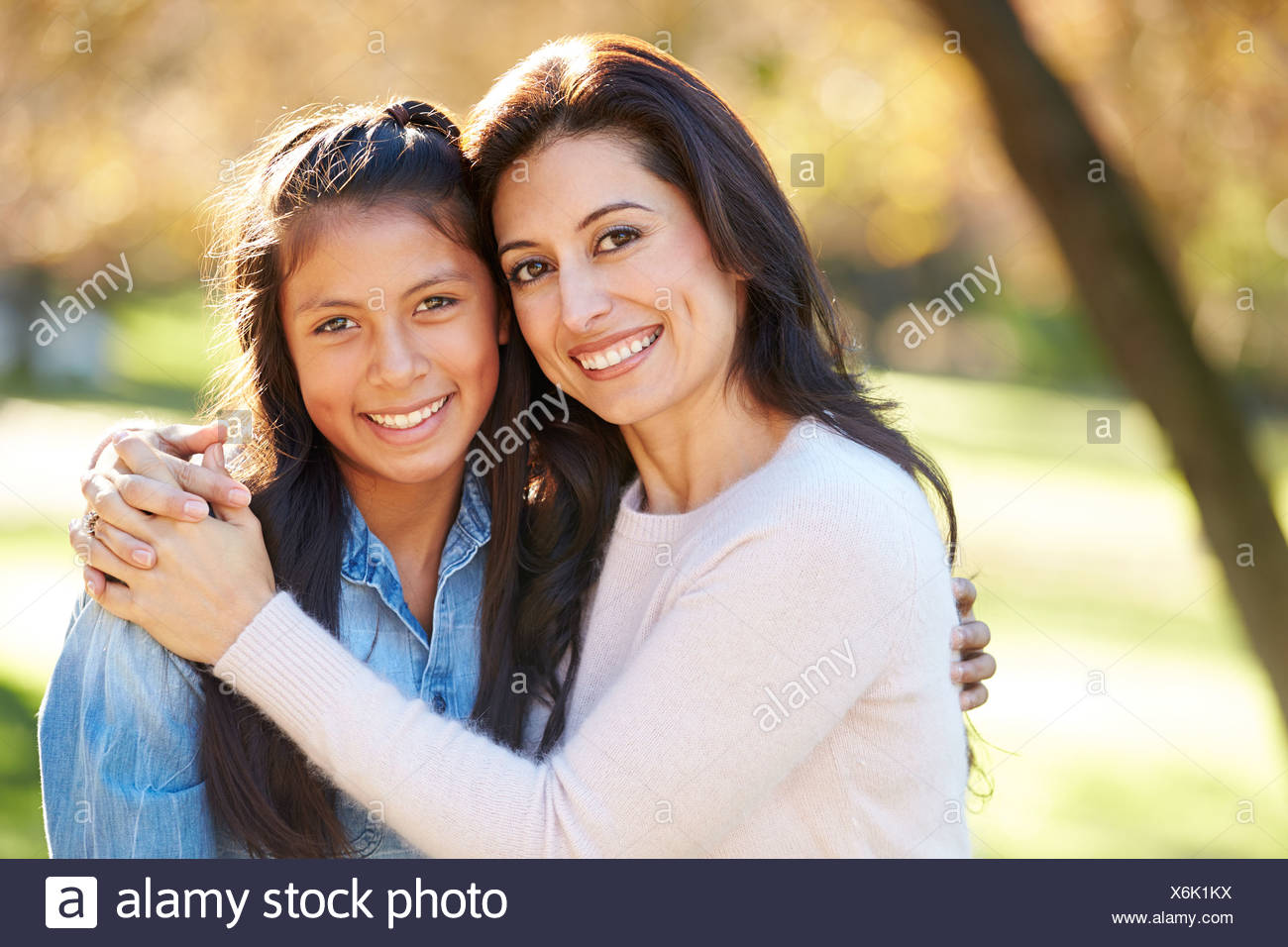Portrait Of Mother And Daughter In Countryside - Stock Image