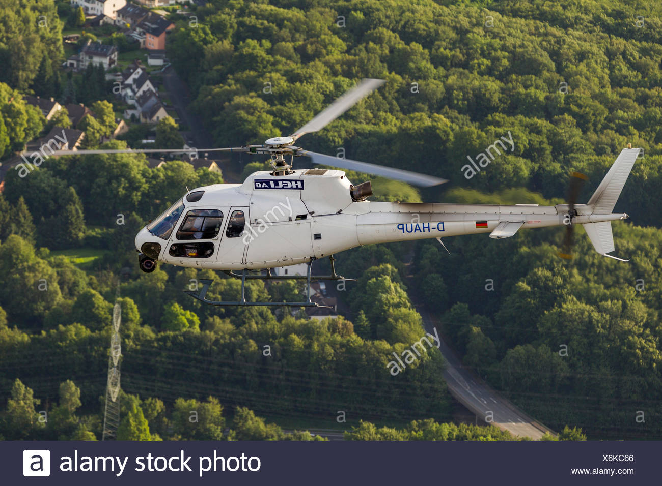 Aerial view, camera helicopter with video camera, Heli AG, high-resolution gyro-stabilised HD camera system, Witten, Ruhr Area - Stock Image