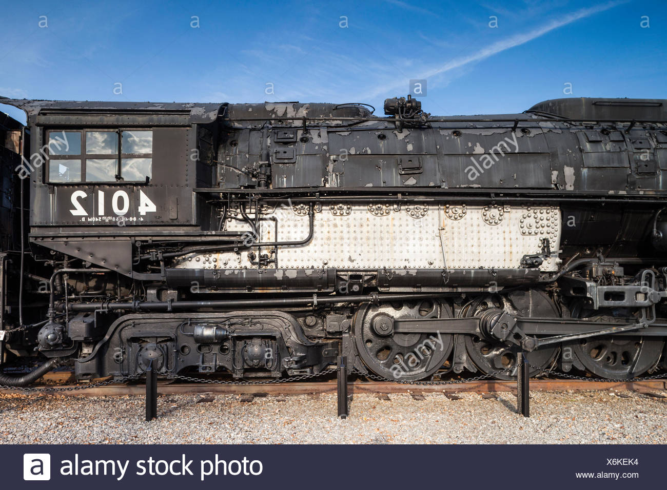 USA, Pennsylvania, Scranton,  Steamtown National Historic Site, Union Pacifc Locomotive 4012, one of the world's largest steam locomotives,  1.25 million pounds in weight - Stock Image