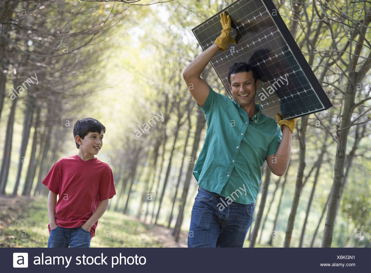 A man carrying a solar panel down an avenue of trees accompanied by a child. Stock Photo