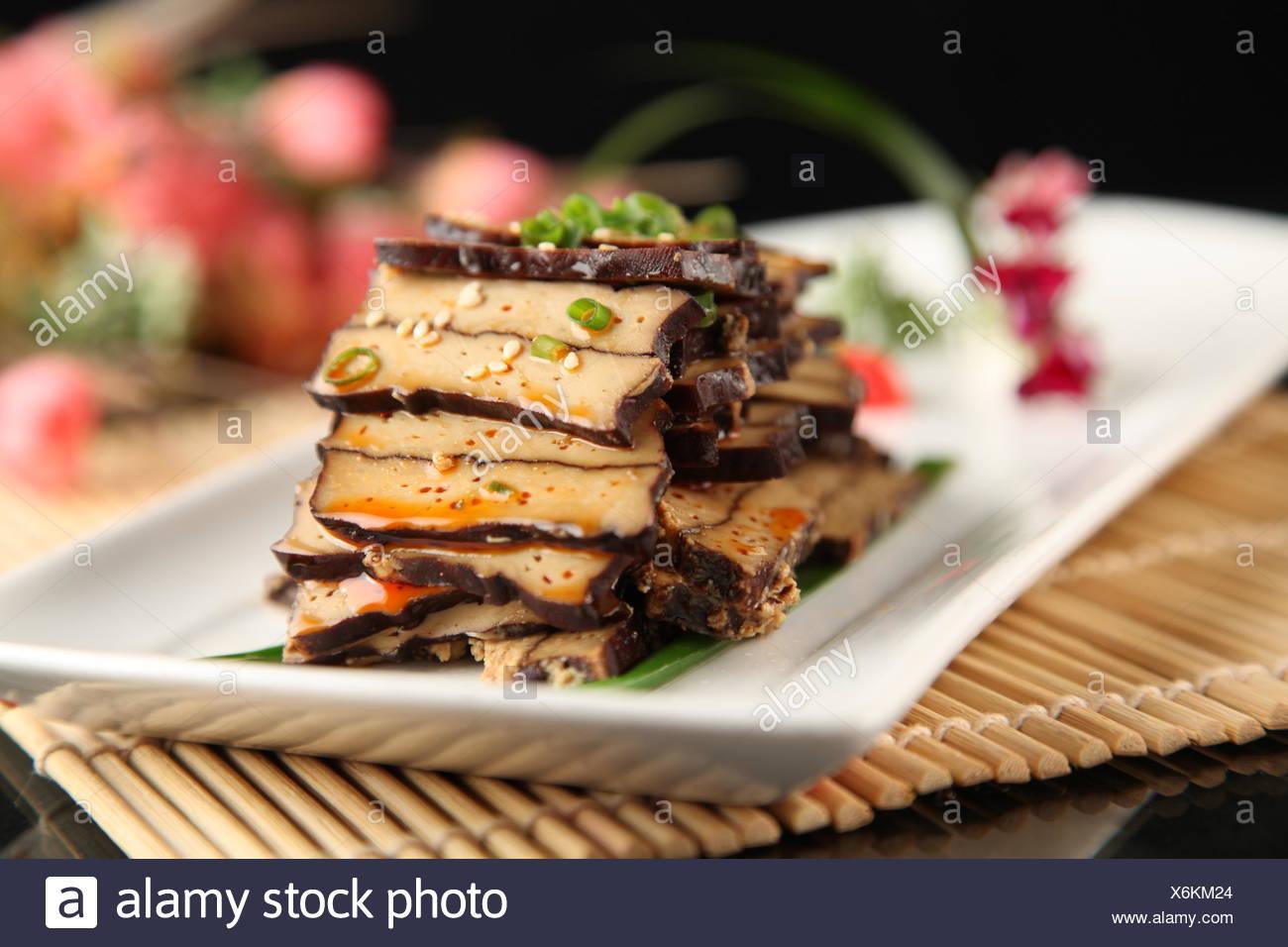 Sauteed Smoked Dried Tofu;Xiang Fu Style - Stock Image