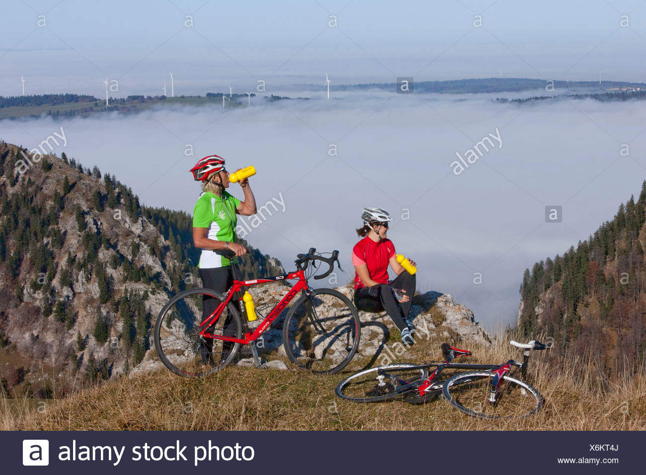 Cyclist, biker, Chasseral, Mont Soleil, Mont Crosin, canton, Bern, JU, Jura, autumn, bicycle, bicycles, bike, riding a bicycle, - Stock Image