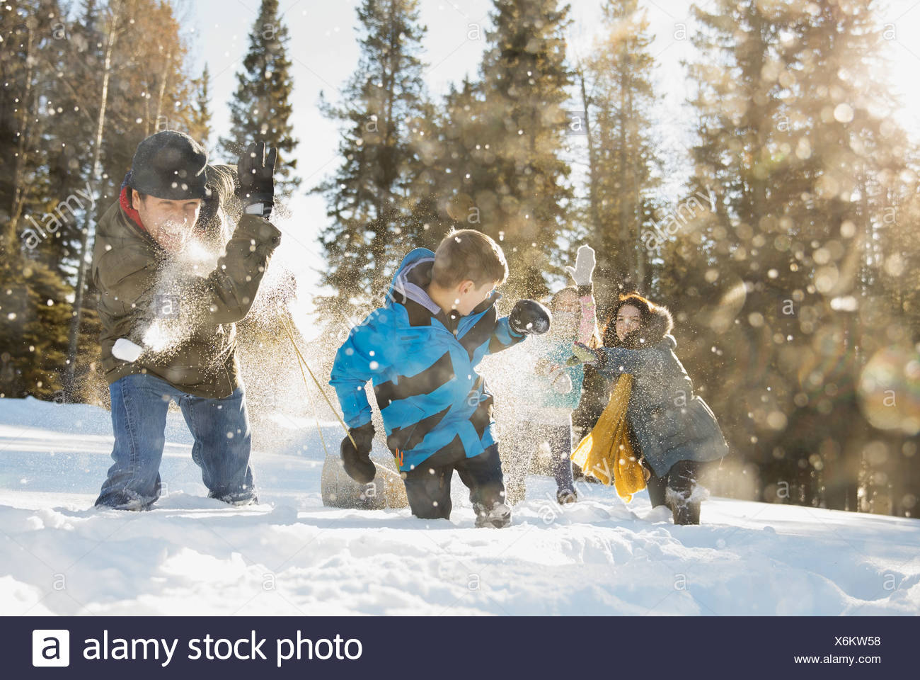 Family having snowball fight outdoors - Stock Image