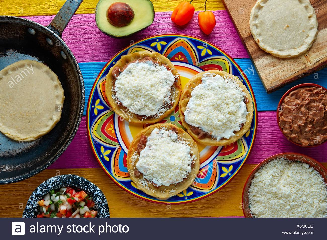 Sopes handmade mexican traditional food thick corn masa tortillas. - Stock Image