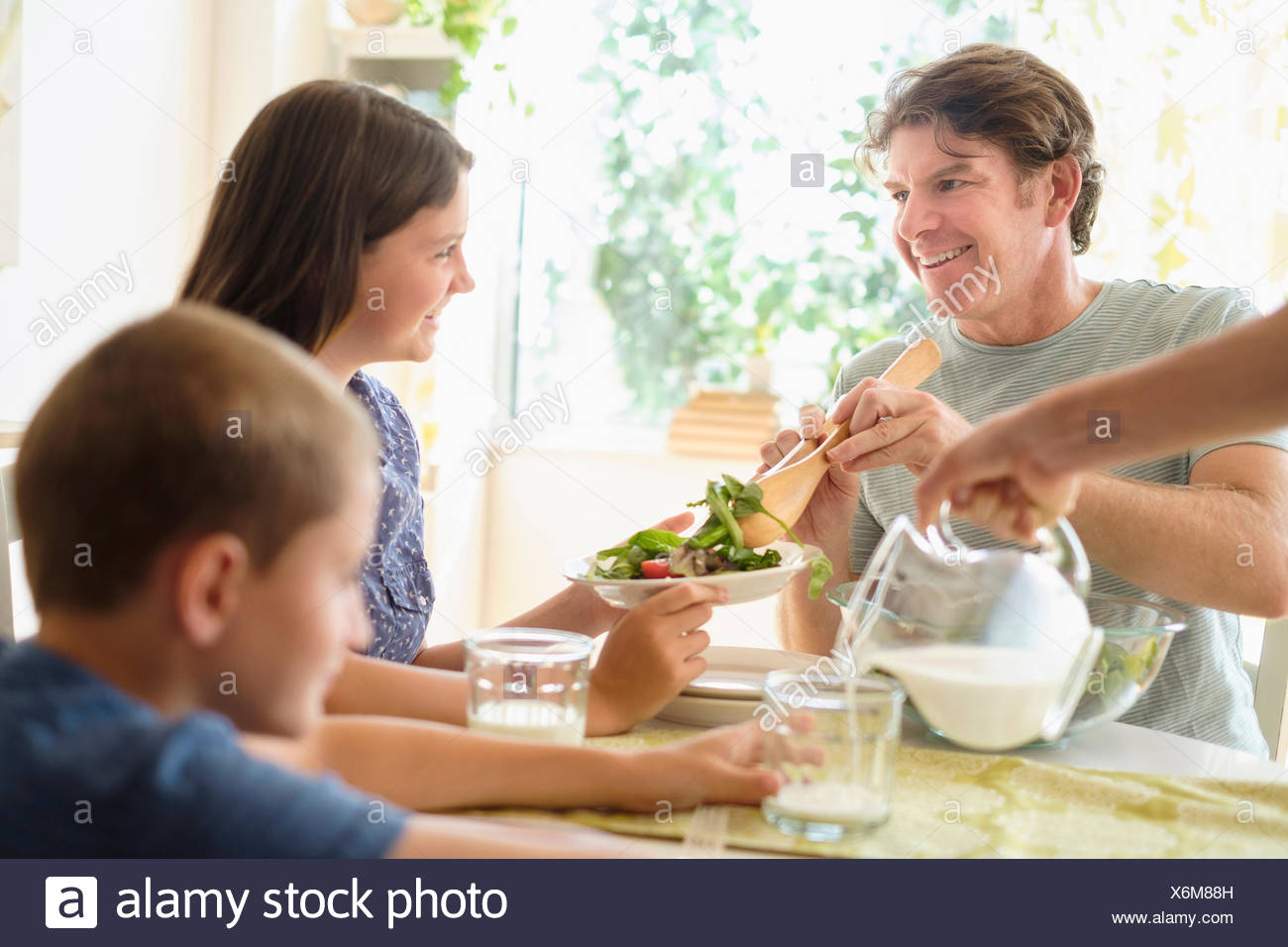 Children (8-9, 10-11) eating salad with parents - Stock Image