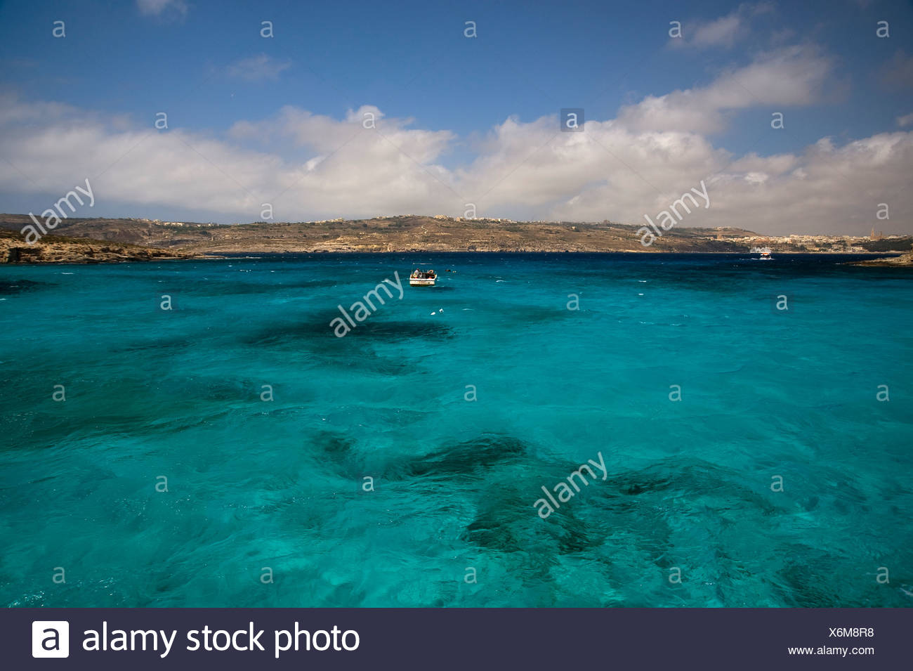 Blue Lagoon of Comino with view to Gozo Island, Malta, Europe - Stock Image