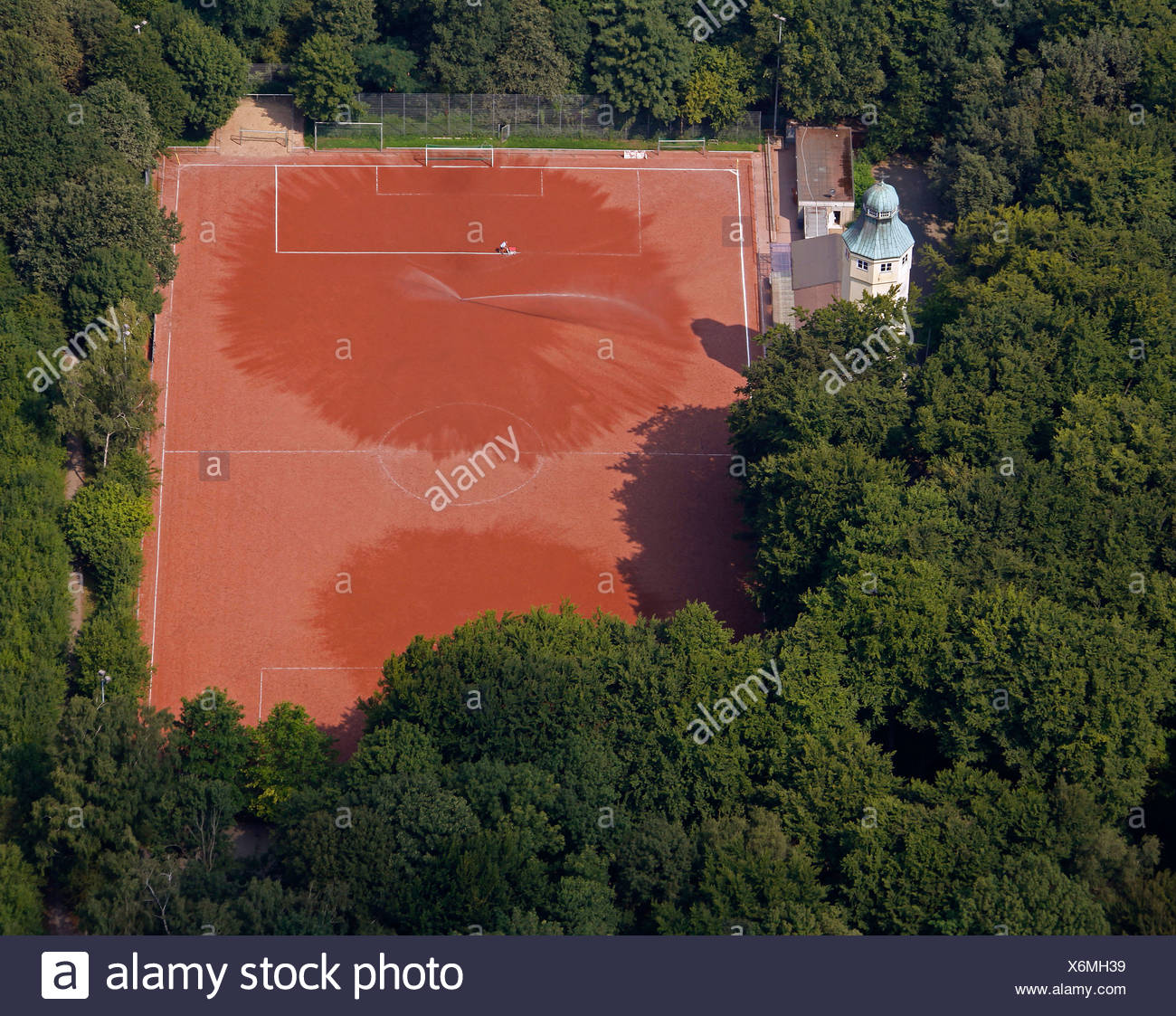 Aerial view, Volkspark park and a sports field, Herne, Ruhr area, North Rhine-Westphalia, Germany, Europe - Stock Image