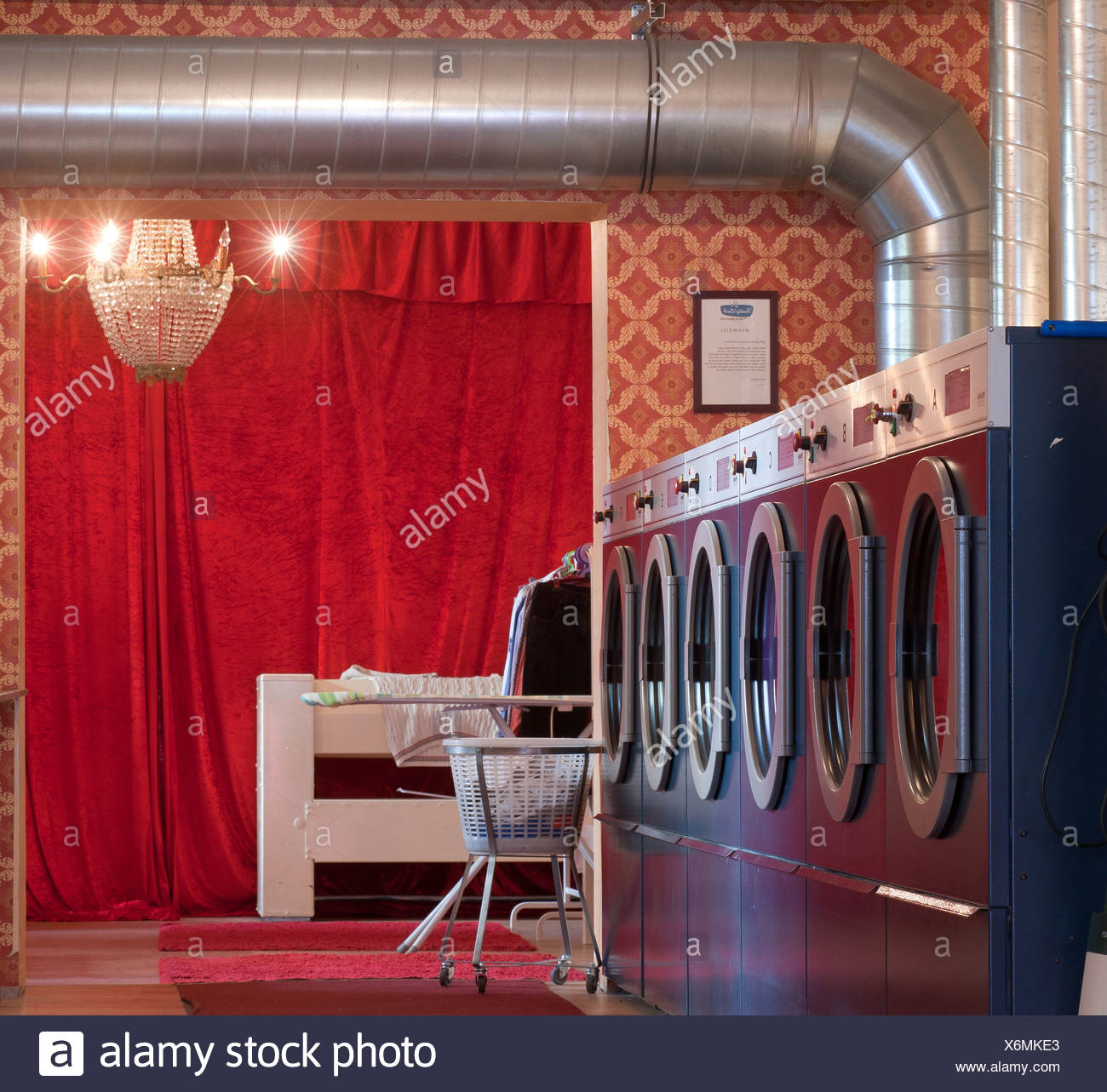 Berlin, Germany, Interior view of Freddy leak be launderette Gotzkowskystrasse in Berlin-Moabit - Stock Image