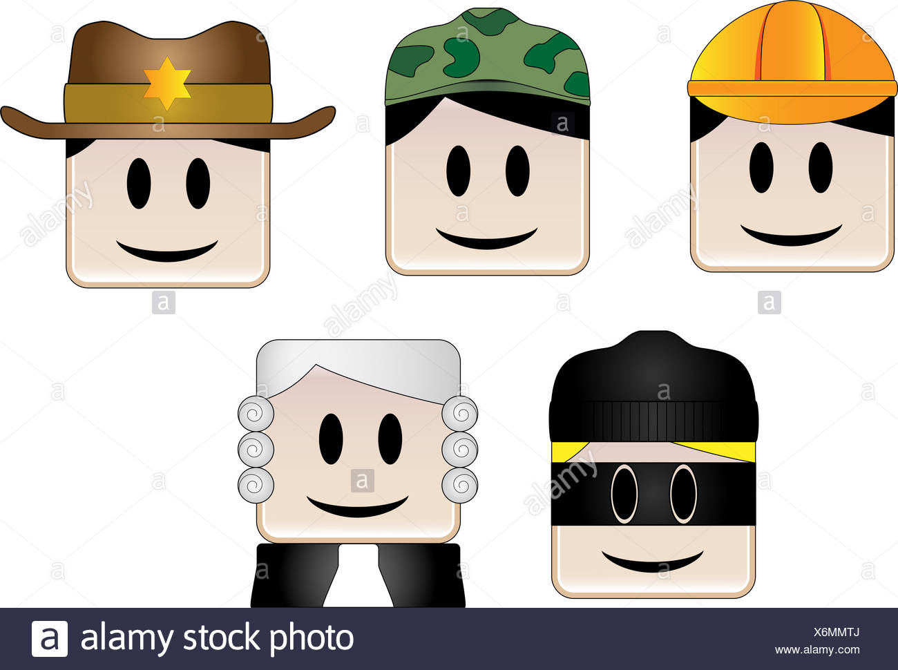 Set of images with random occupations Stock Photo