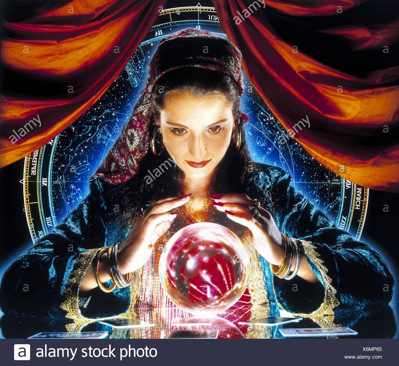 Foreteller, crystal ball, woman, glass ball, clairvoyant