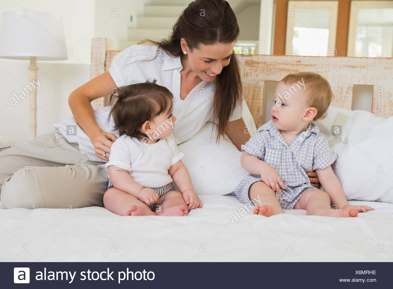 Happy Mother With Cute Babies Boy And Girl Stock Photo 279511386