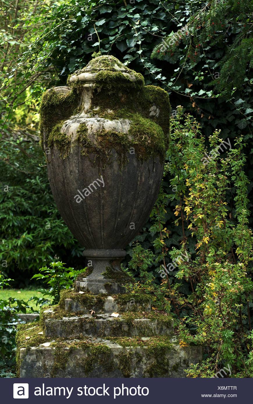 Zurich, Switzerland, a mossy, ancient amphora - Stock Image
