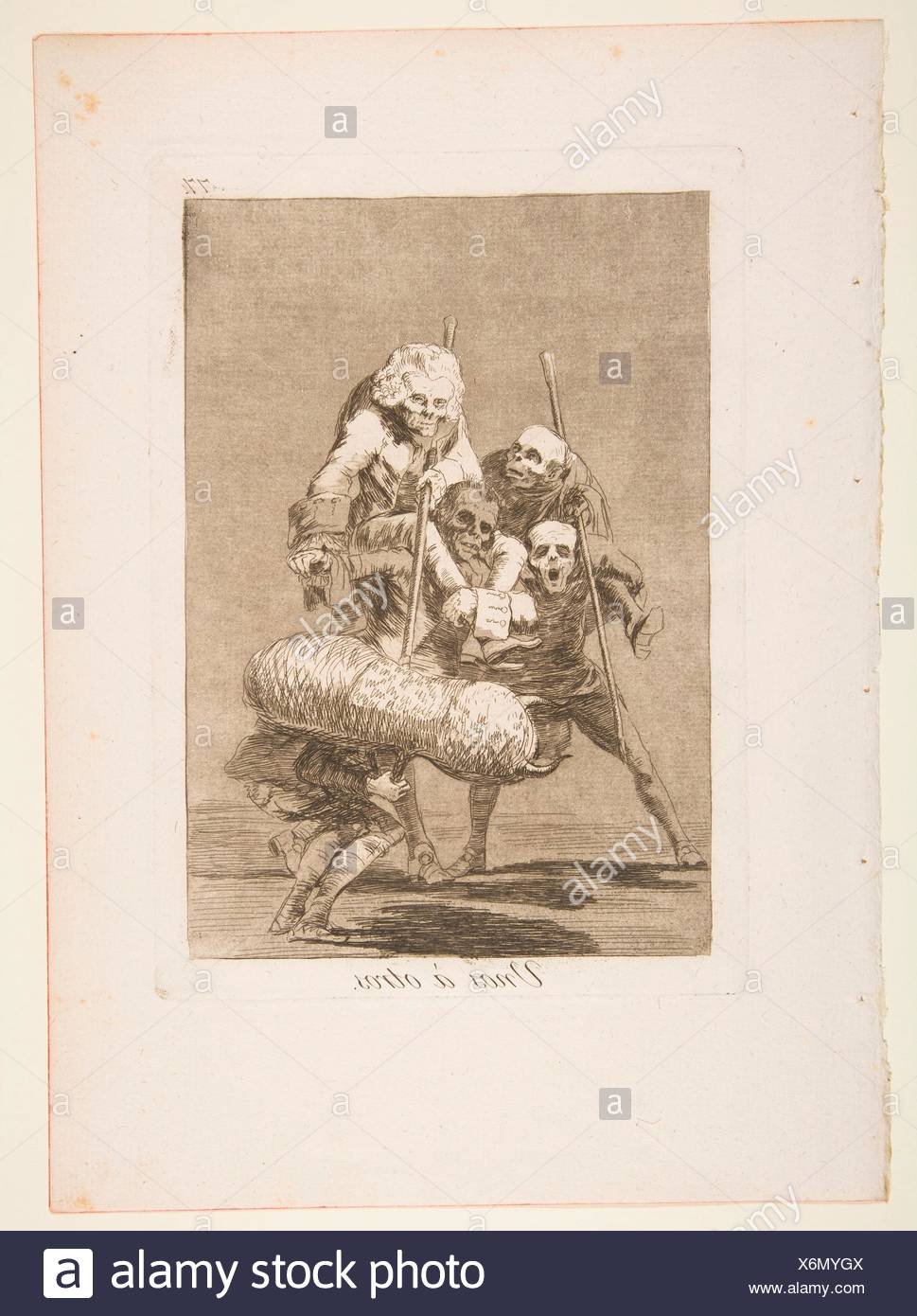 Plate 77 from ´Los Caprichos´:What one does to another (Unos ó otros.). Series/Portfolio: Los Caprichos; Artist: Goya (Francisco de Goya y Lucientes) - Stock Image