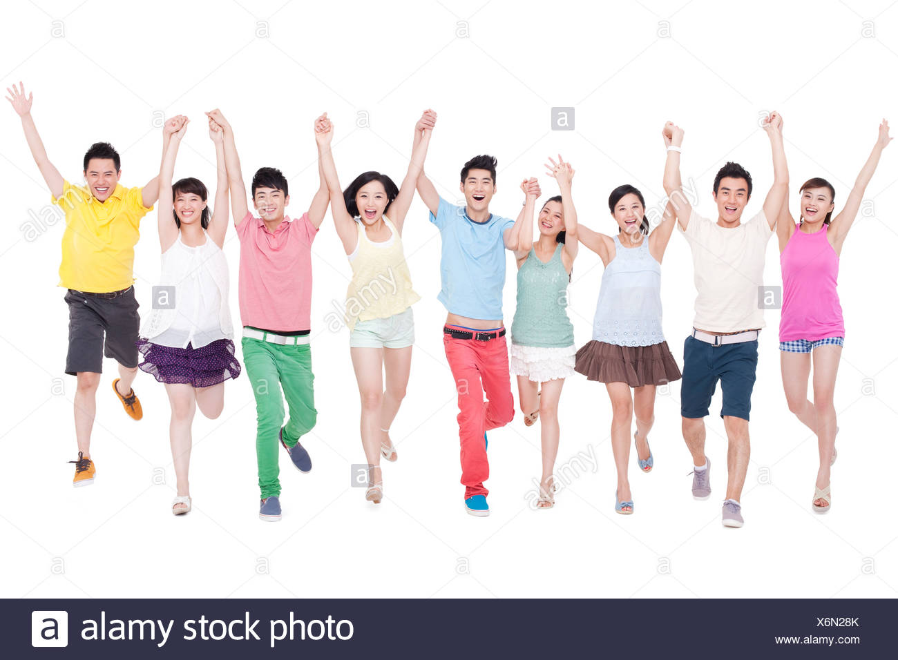 Happy young friends together - Stock Image