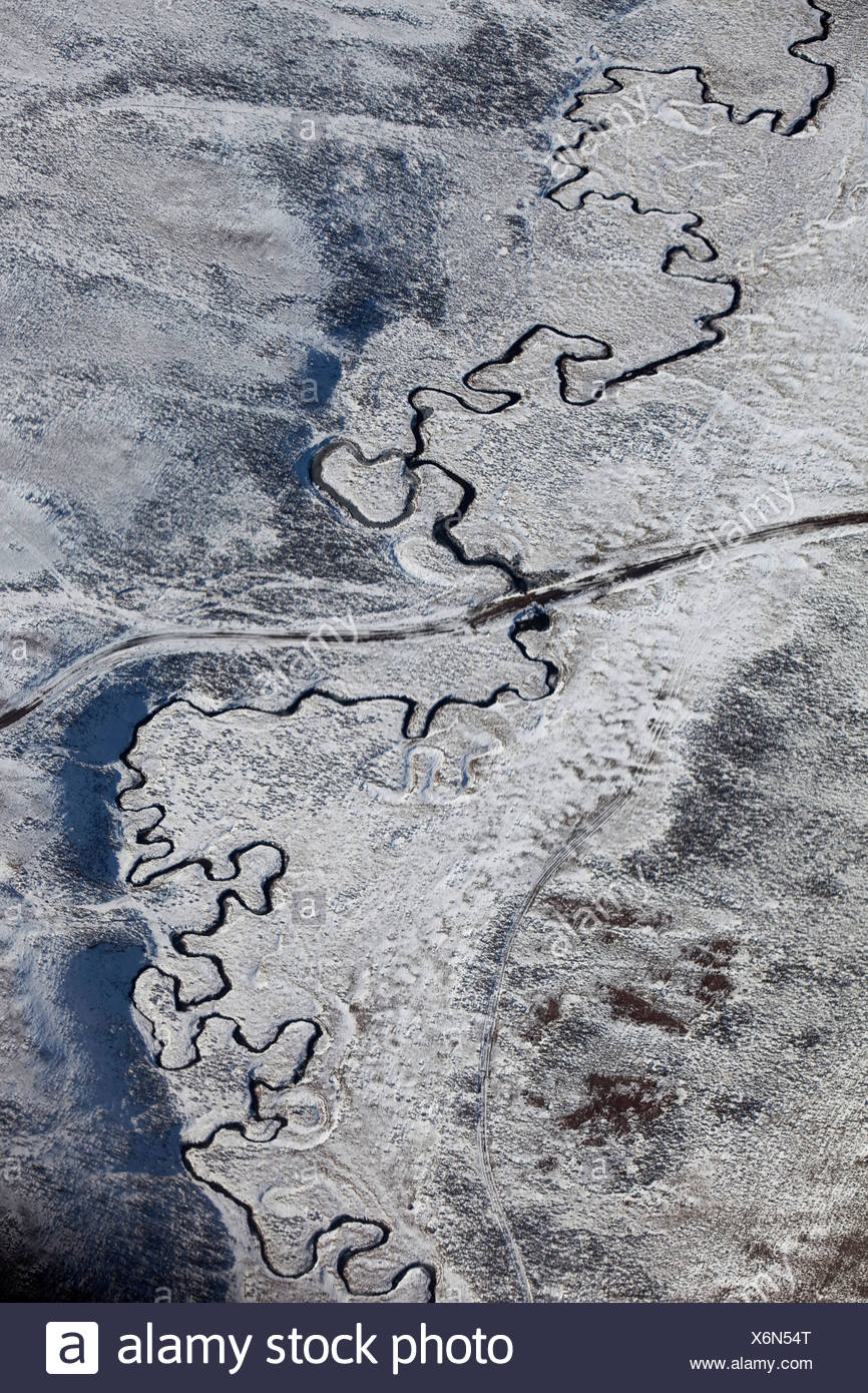 Aerial view of the South Platte River meandering on its flood plain. Stock Photo