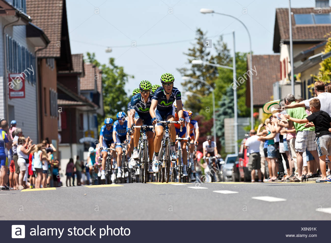 The head of the peloton in the final stage of the Tour de Suisse 2012 Naefels to Soerenberg, Switzerland, Europe - Stock Image