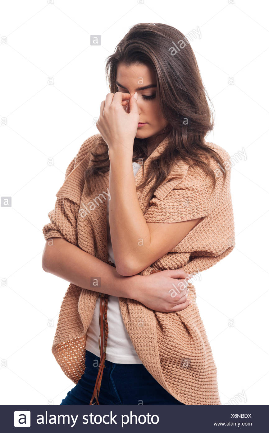Beautiful model with a headache - Stock Image