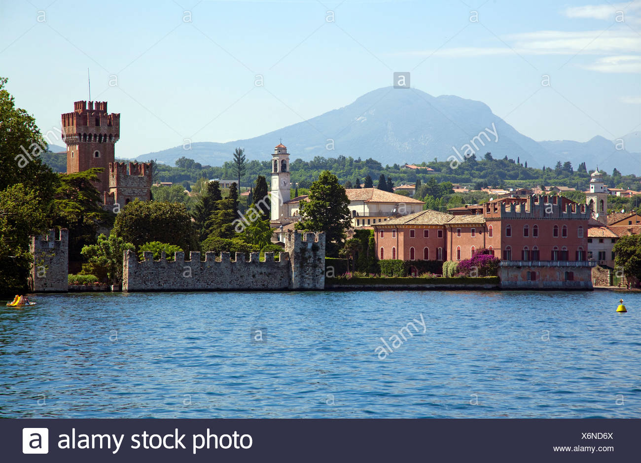 with Scaliger castle, 9th century, one of the best preserved fortifications on Lake Garda, , Verona province, Veneto, Italy - Stock Image