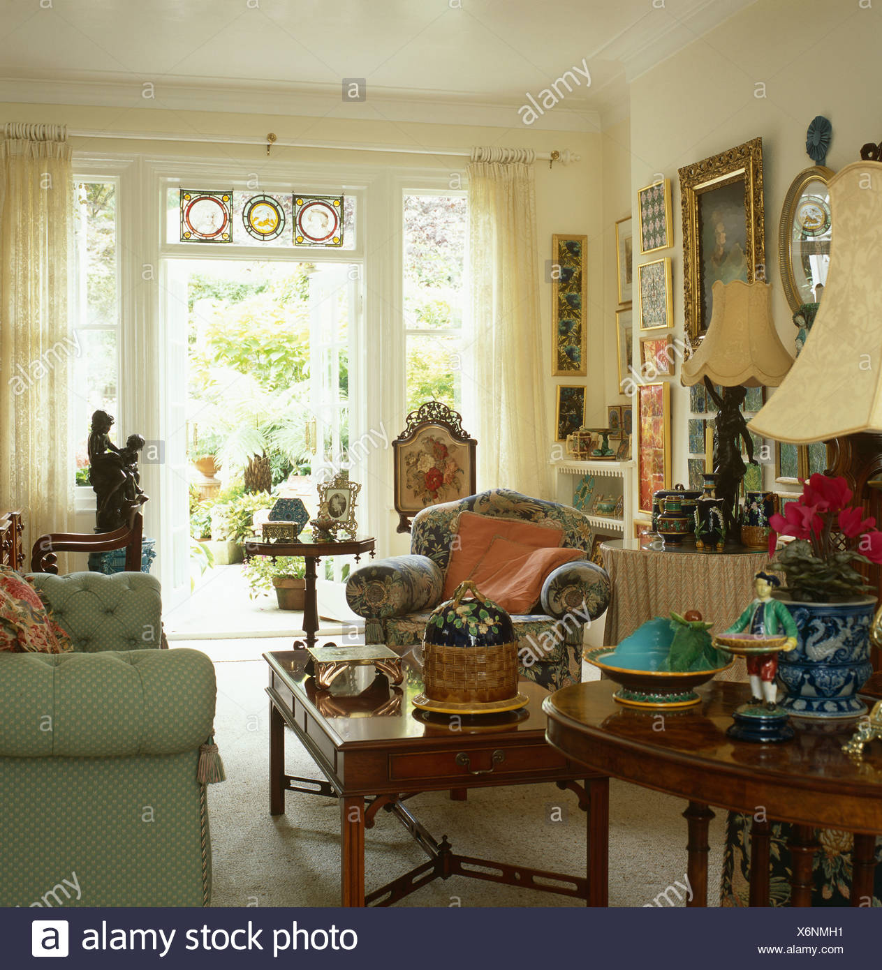 Antique side tables in comfortable country living room - Antique side tables for living room ...
