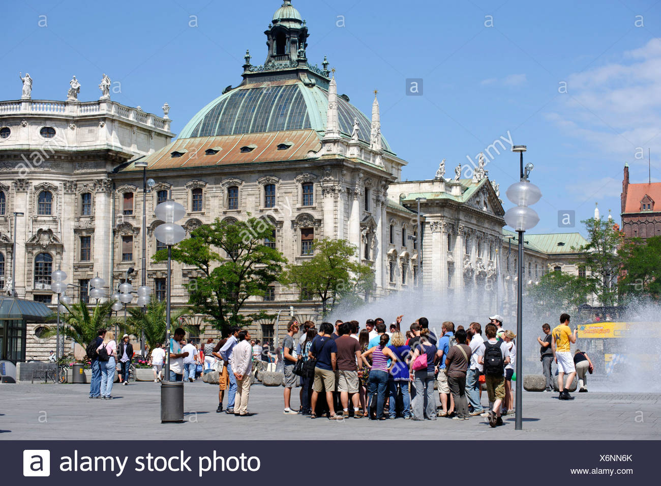 Palace of justice from Karlsplatz square, Stachus, Munich, Upper Bavaria, Germany, Europe - Stock Image