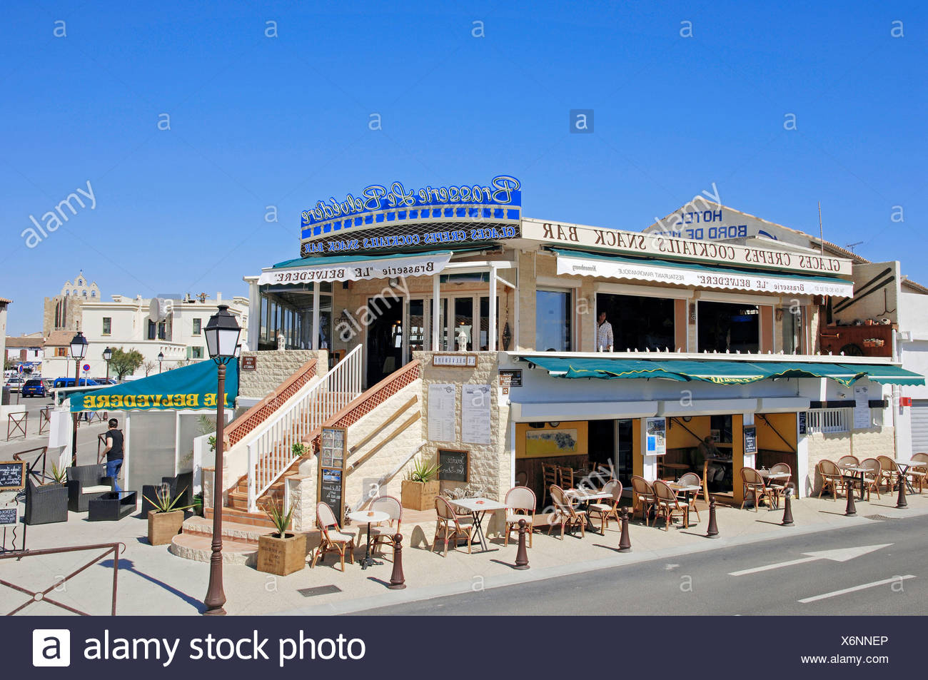 Restaurant Brasserie Le Belvedere, Les Saintes-Maries-de-la-Mer, Camargue, Bouches-du-Rhone, Provence-Alpes-Cote d'Azur, Southe - Stock Image