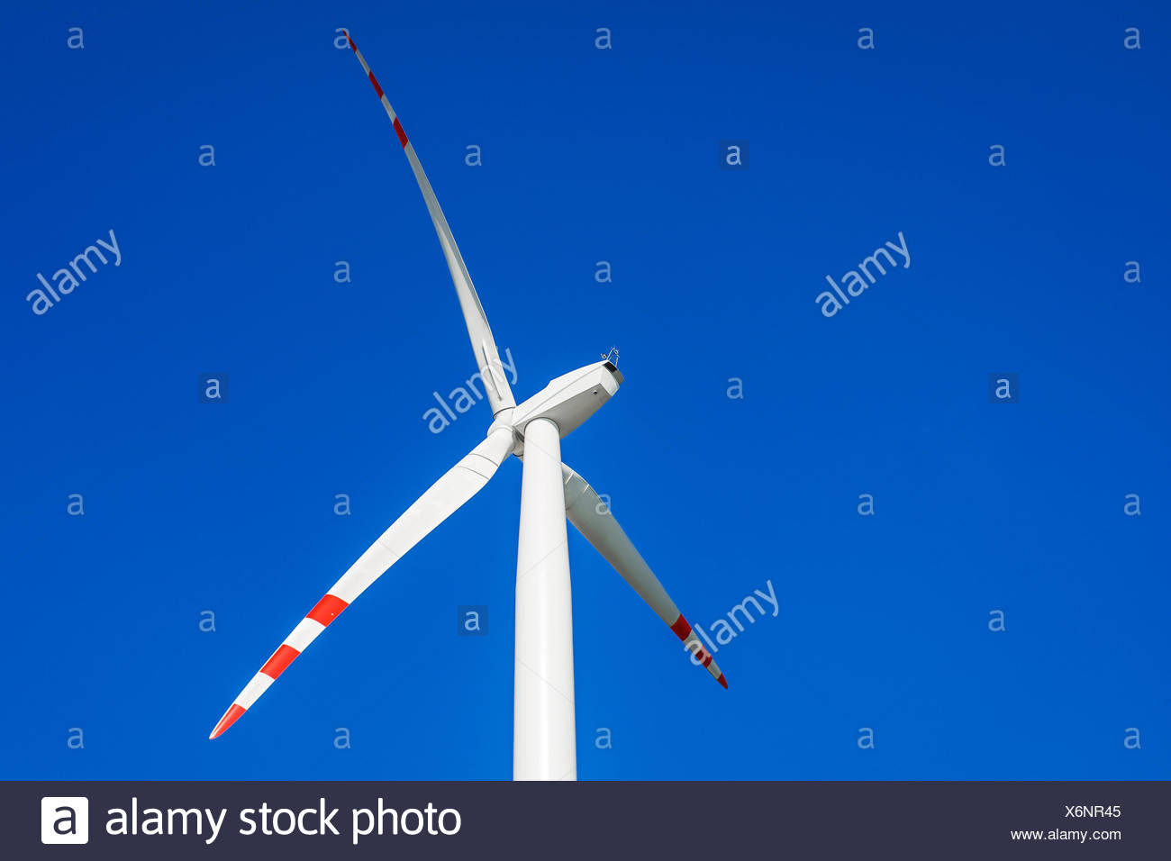 Close up of wind turbine. Legnickie Pole, Poland - Stock Image