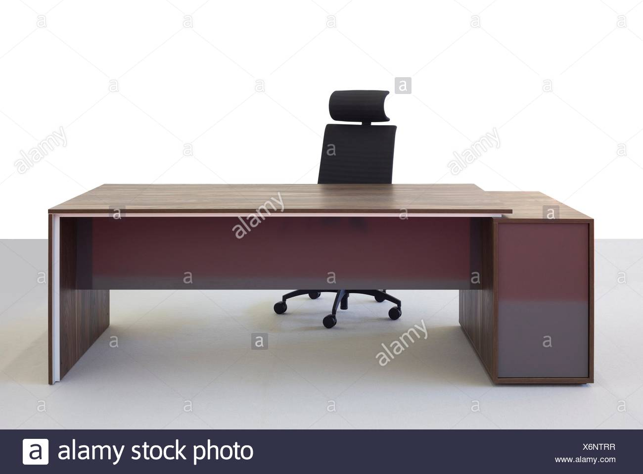 Empty Office Desk And Chair Isolated On White Background Stock Photo Alamy