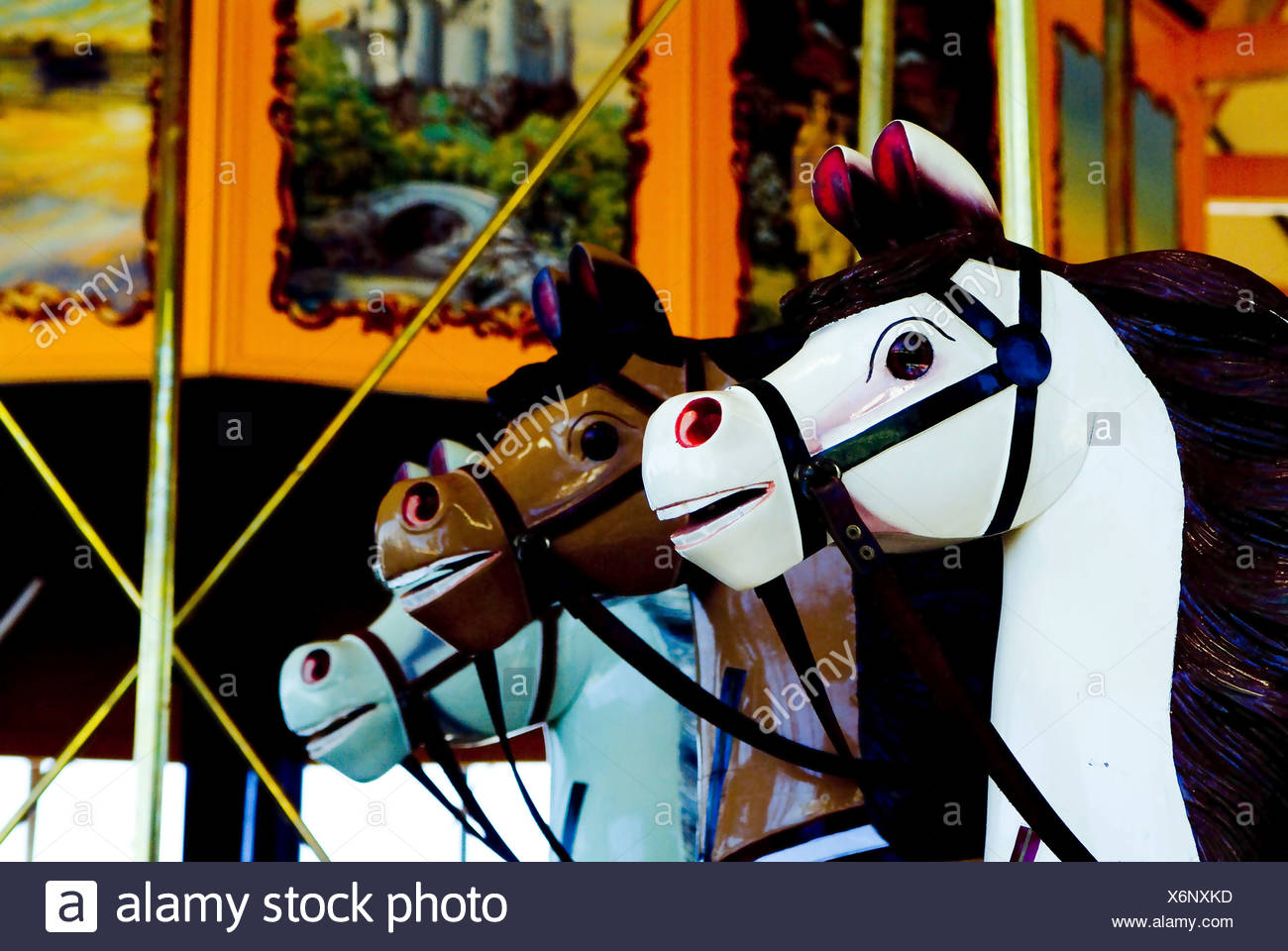 Colourful Antique Carousel Horses On A Merry Go Round