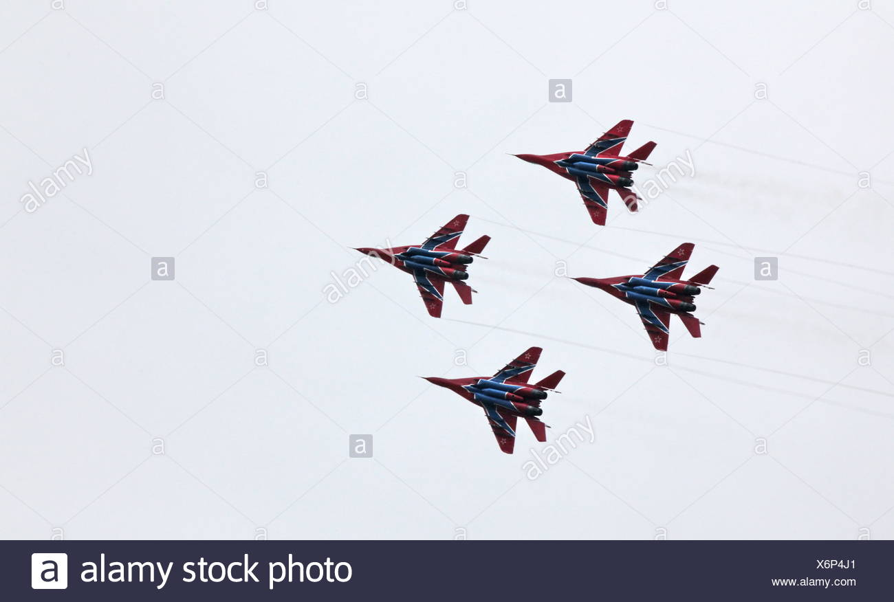 Aerobatic team 'Swifts' on the MiG-29 - Stock Image