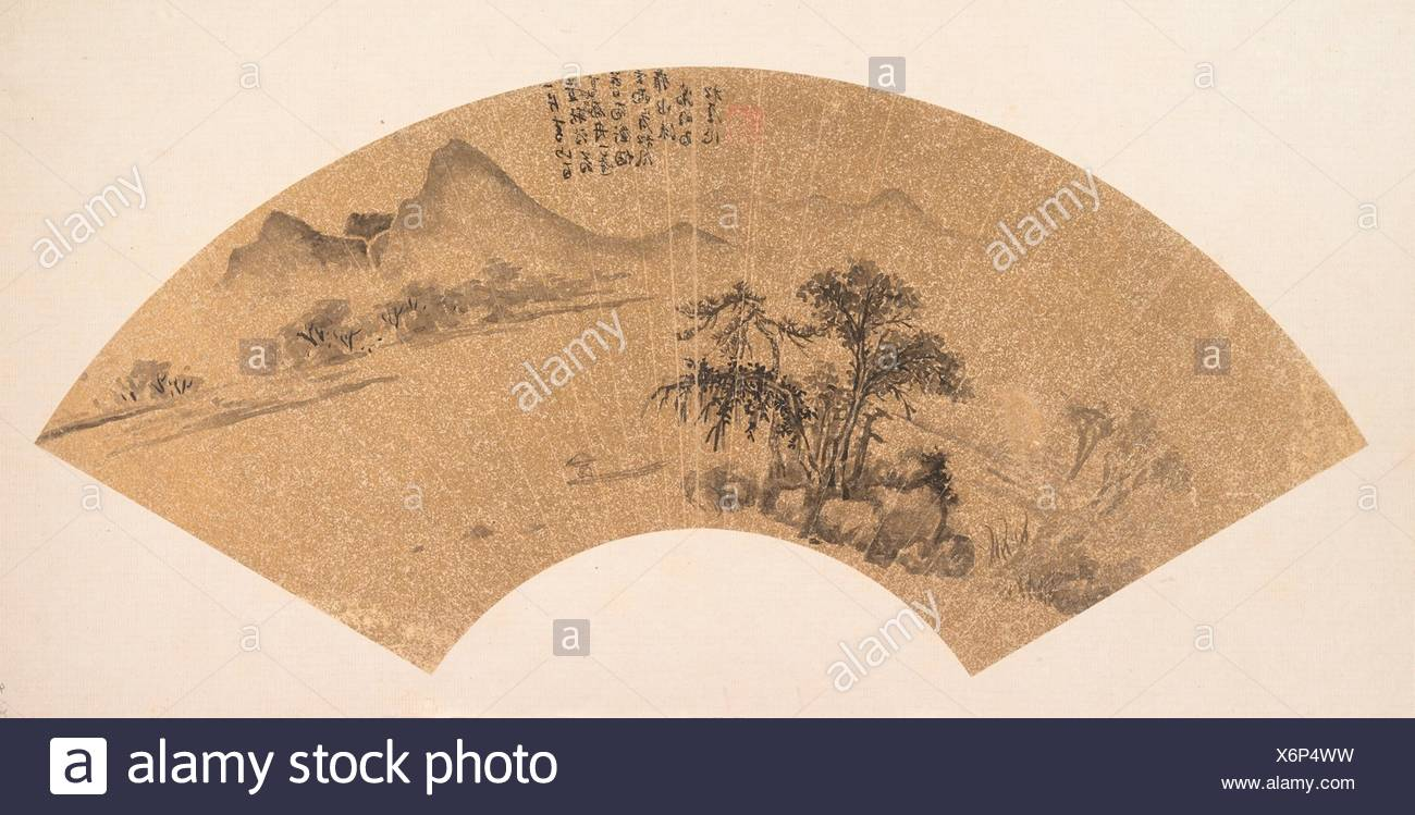 Landscape. Artist: Unidentified Artist; Artist: After Wen Zhengming (Chinese, 1470-1559); Period: Ming dynasty (1368-1644) or later; Culture: China; - Stock Image