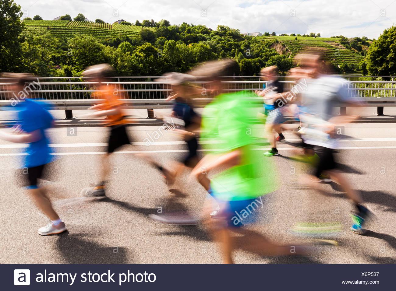 Deutschland, Baden-Württemberg, Stuttgart, Weinberge, Stuttgart-Lauf, Halbmarathon, Veranstaltung für Jedermann, Stadtlauf, Läufer, Strasse, Langstrec - Stock Image