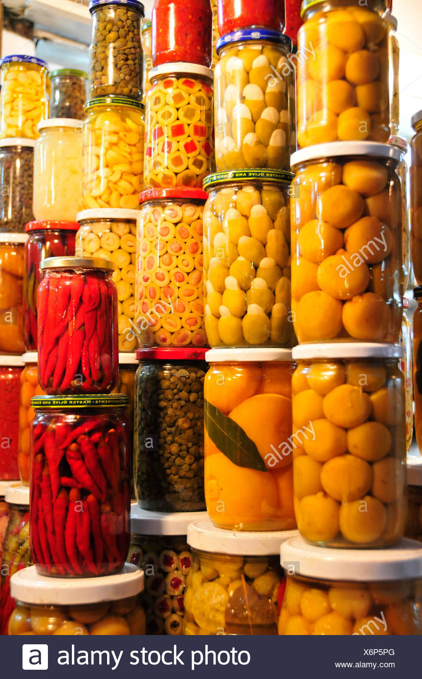 Preserved fruit at a stall at the souk, market, in the medina quarter of Marrakesh, Morocco, Africa - Stock Image