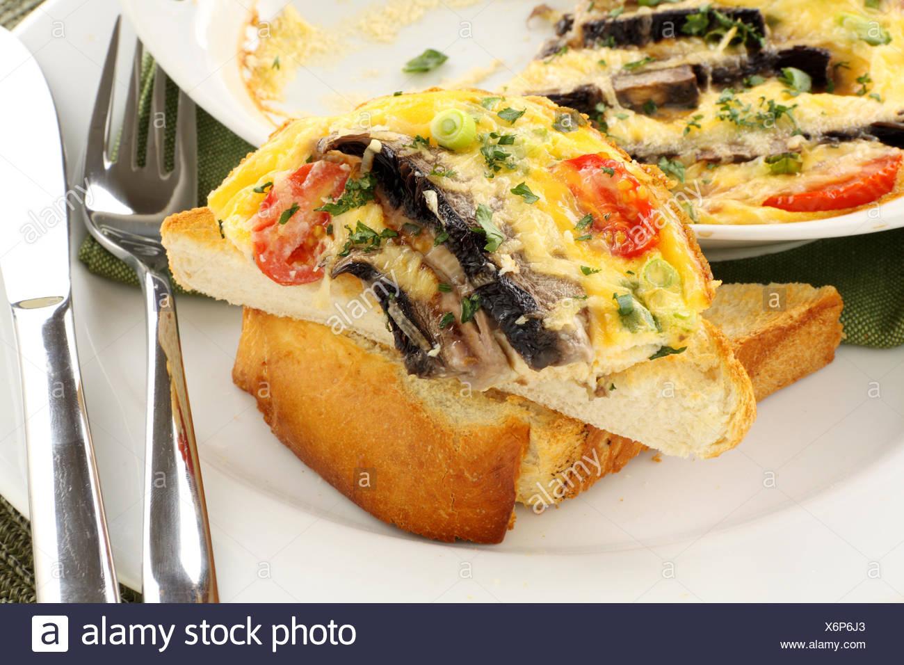 mushrooms eggs omelette - Stock Image