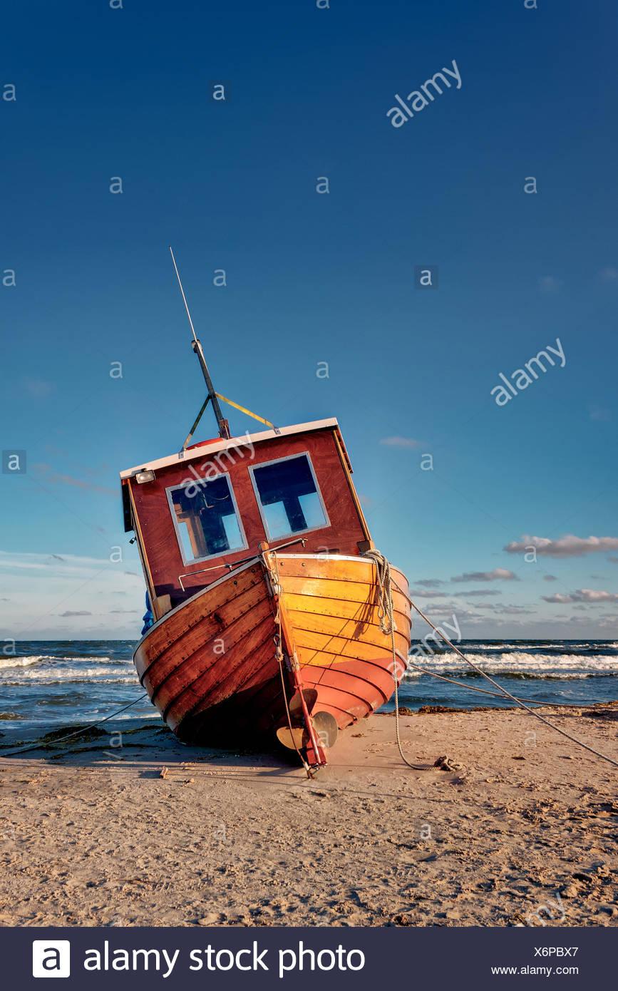 Fishing Boat at Baltic Sea Coast Stock Photo