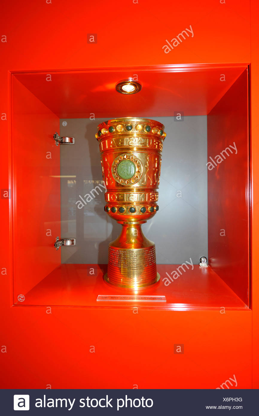 DFB-Pokal cup in the cabinet of the office of the VfB Stuttgart football club, Stuttgart, Baden-Wuerttemberg, Germany, Europe - Stock Image