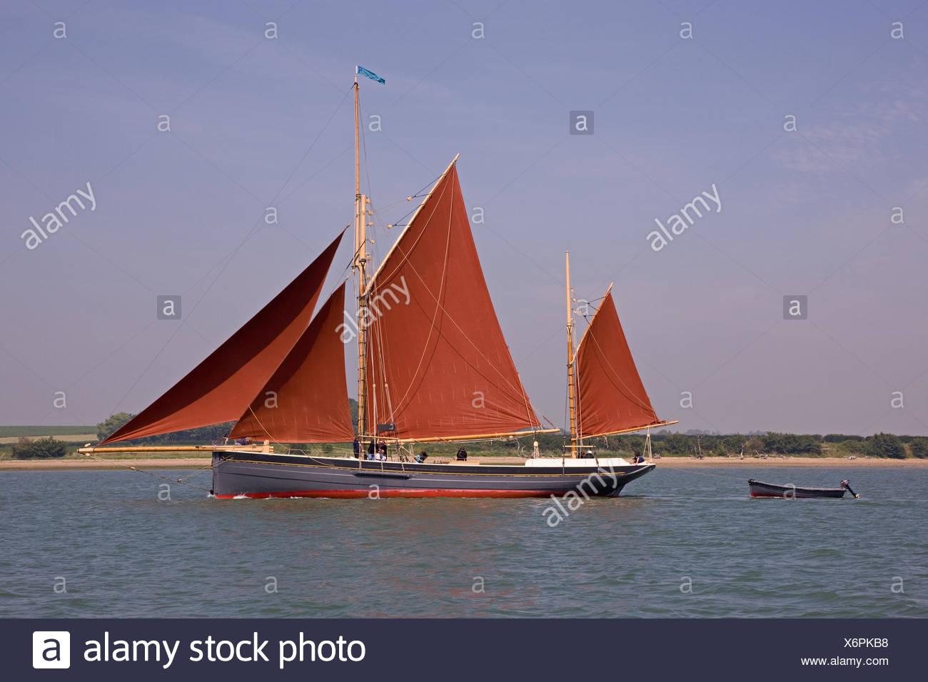 traditional, fishing, boat, smack, sailing, rowing boat, sailing boat, - Stock Image