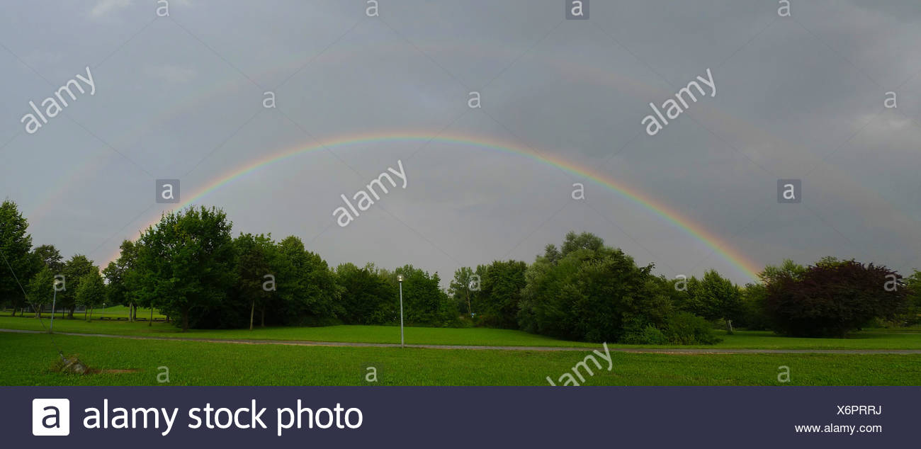 Rainbow at the Chiemsee - Stock Image
