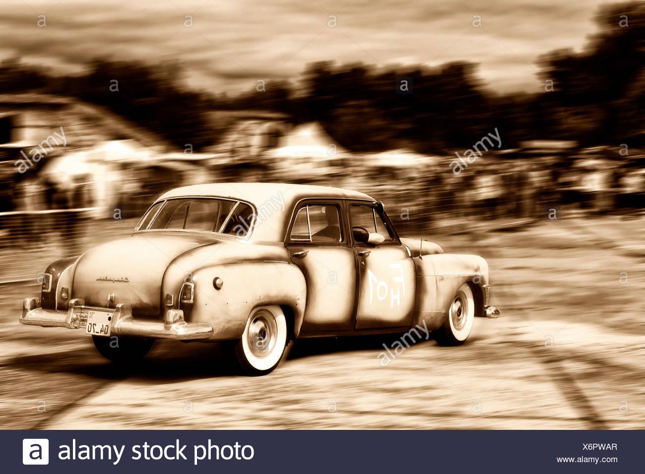 Chrysler classic car, Roadie Show, edited image, Berlin - Stock Image