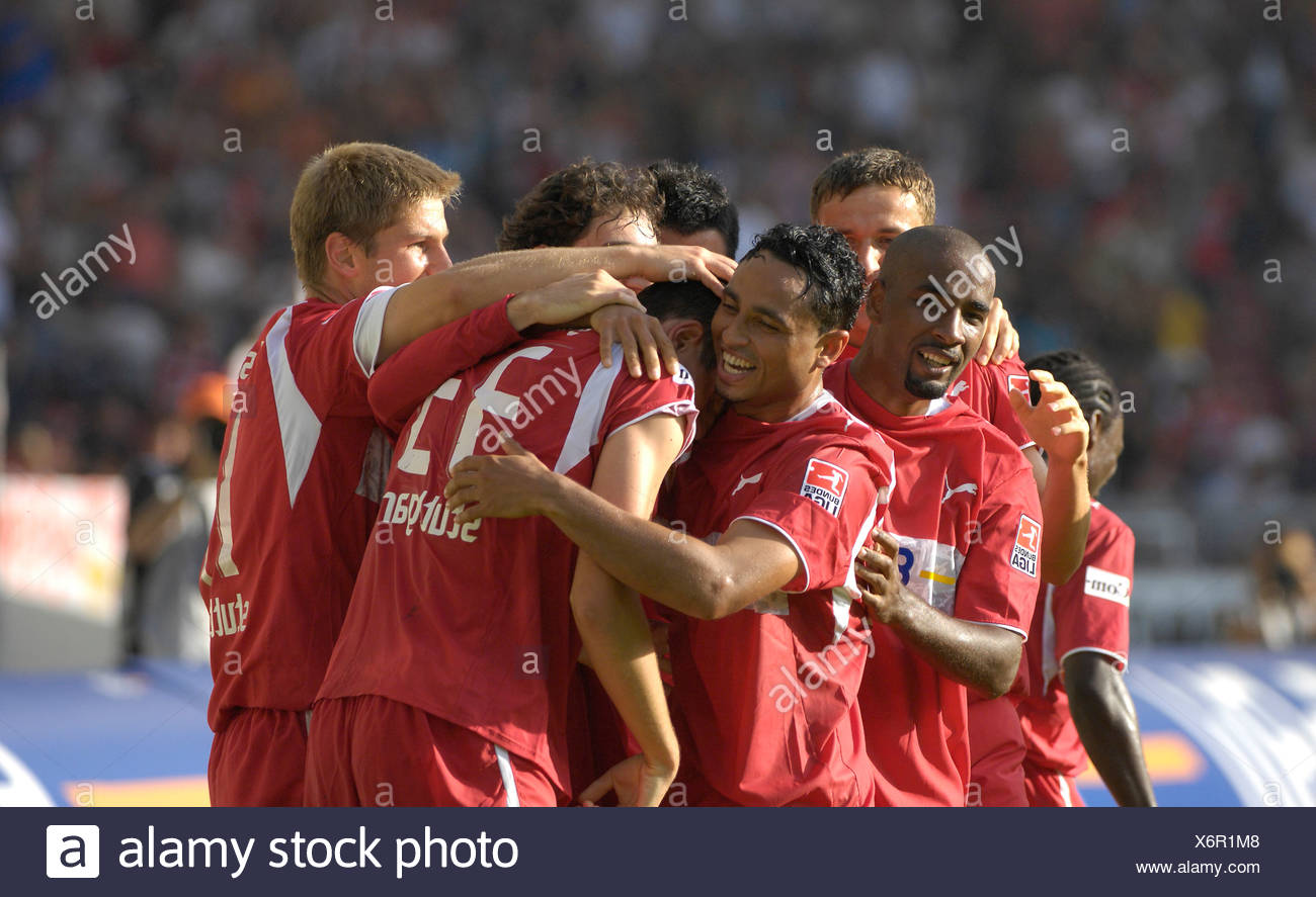 VfB Stuttgart players cheer after goal of Mario GOMEZ Stock Photo