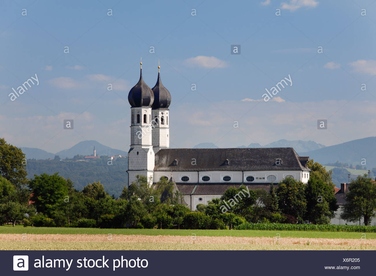 Holy Trinity pilgrimage church, church of Heilige Dreifaltigkeit, Weihenlinden, parish of Bruckmuehl, Upper Bavaria, Bavaria - Stock Image