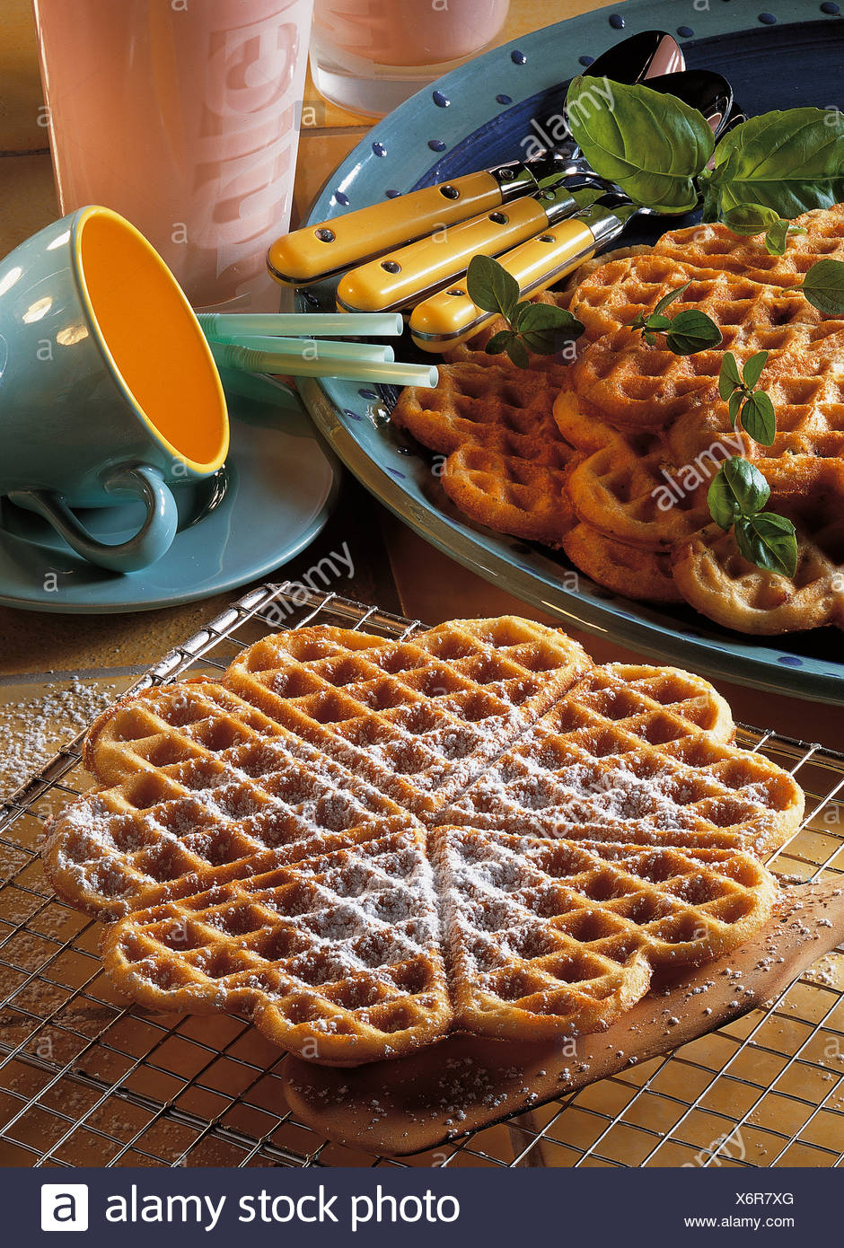Sweet and savory waffles, USA, recipe available for a fee - Stock Image